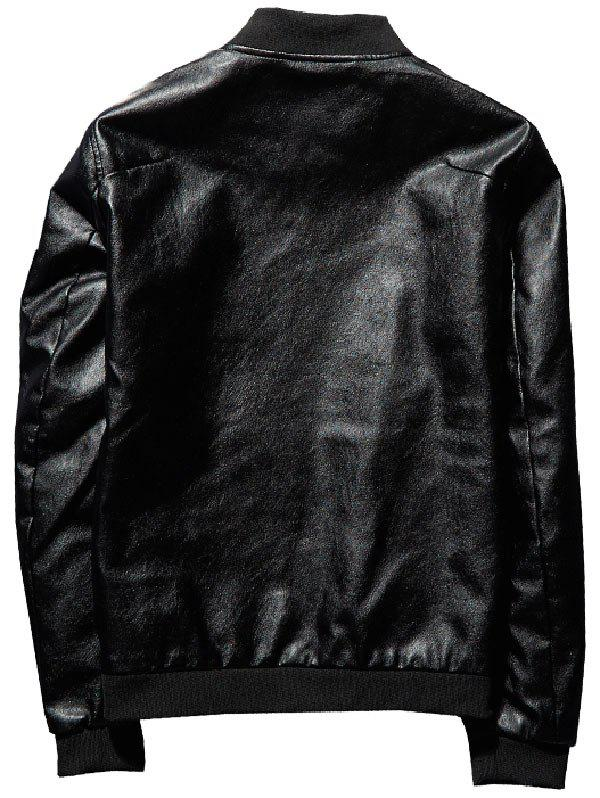 Zip Up Epaulet Faux Leather Bomber Jacket - BLACK 2XL