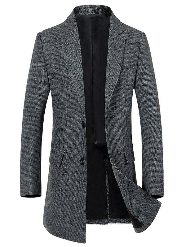 Single Breasted Longline Woolen Blend Coat - GRAY L