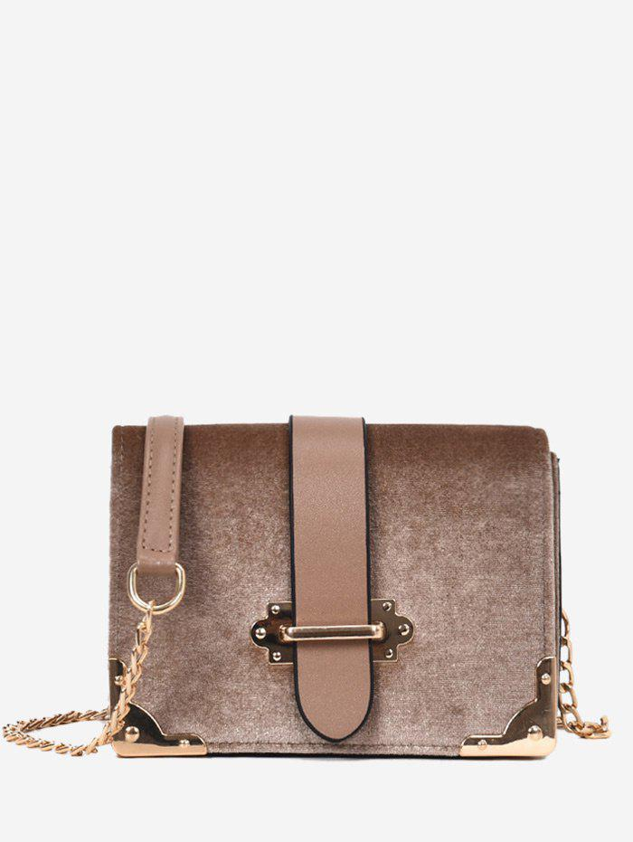 Metallic Chain Crossbody Bag - KHAKI