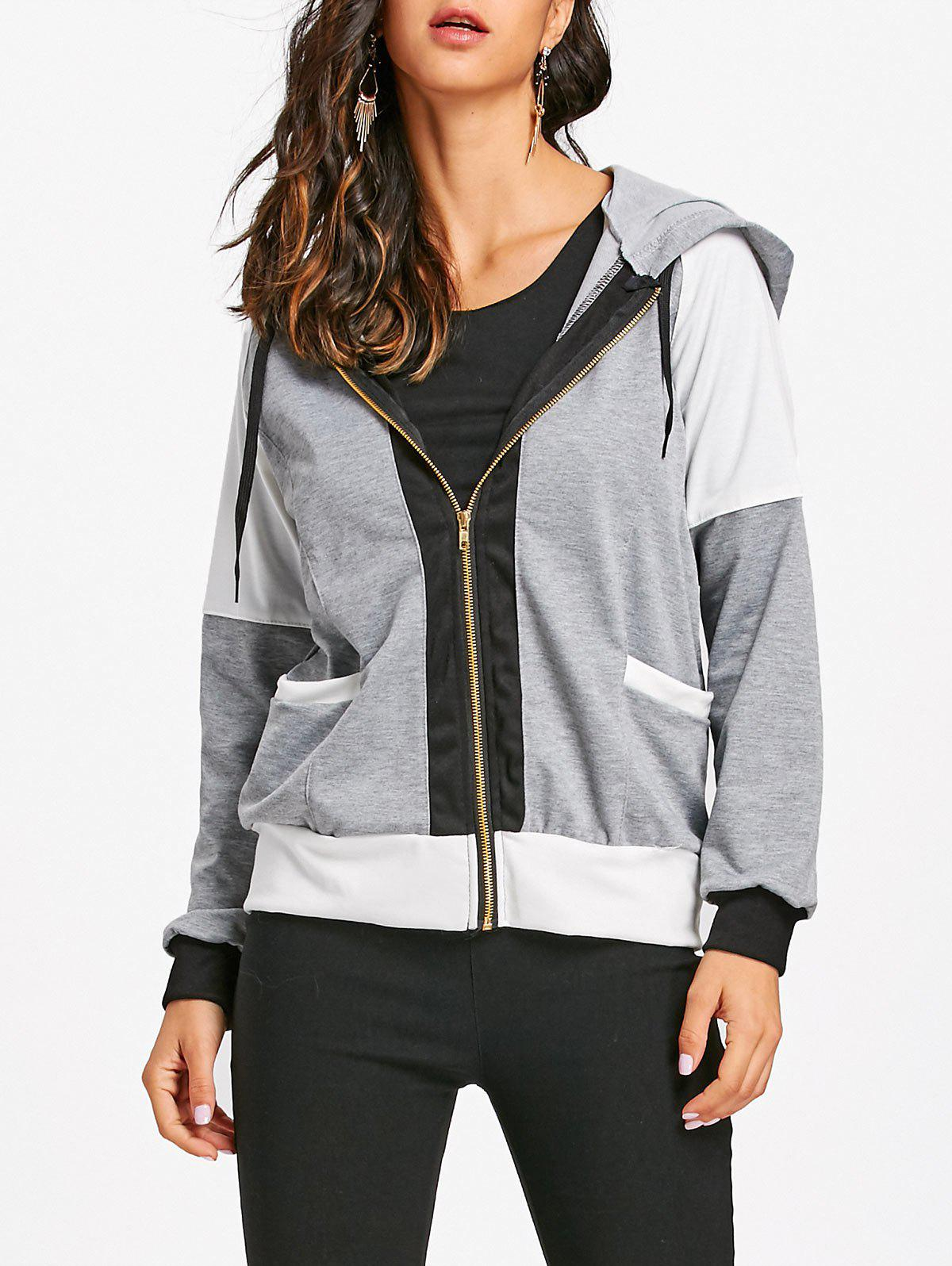 Hooded Raglan Sleeve Zipper Jacket - GRAY M