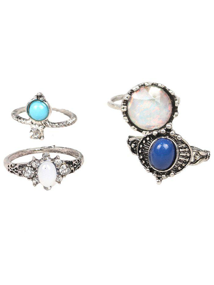 Faux Gem Rhinestone Oval Ring Set - SILVER