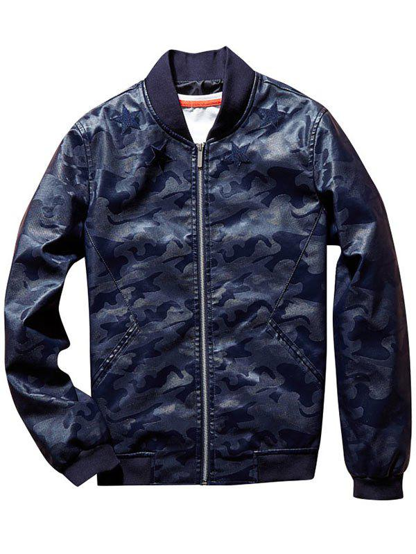 Star Patch Camouflage Faux Leather Bomber Jacket - DEEP BLUE 4XL