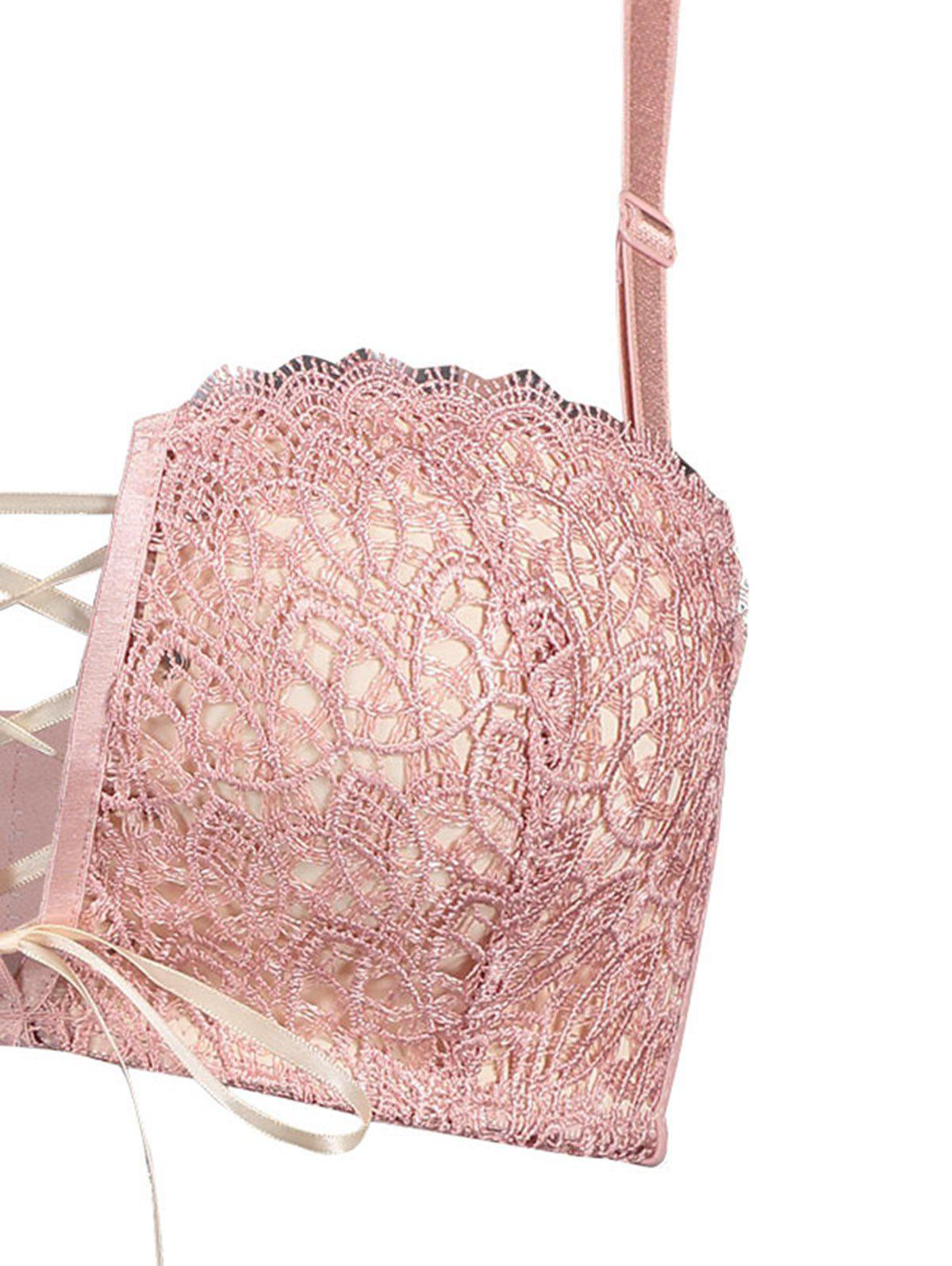 Padded Lace Bra with Lace-up Detail - LIGHT PINK 80A