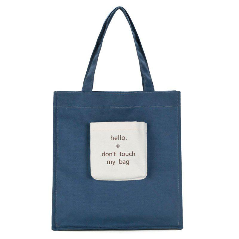 Letter Print Canvas Contrasting Color Shoulder Bag - BLUE