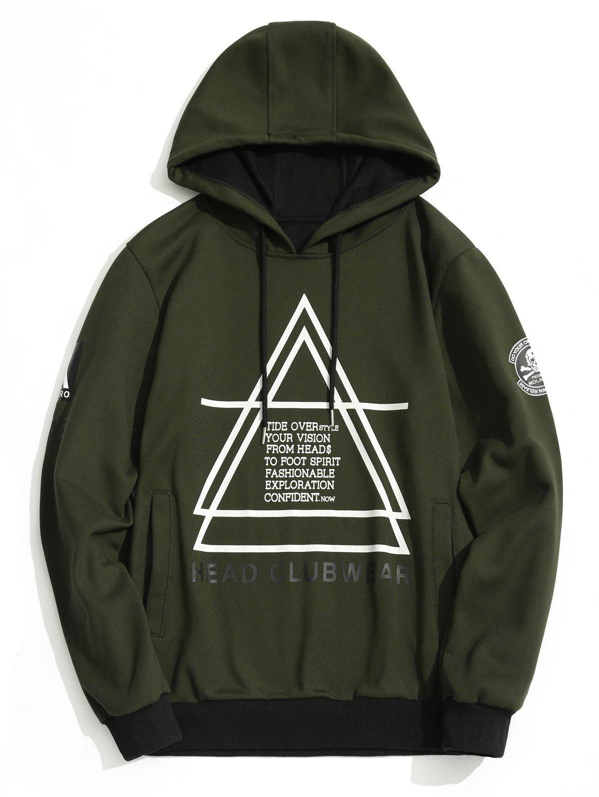 Graphic Flocking Hoodie - ARMY GREEN L