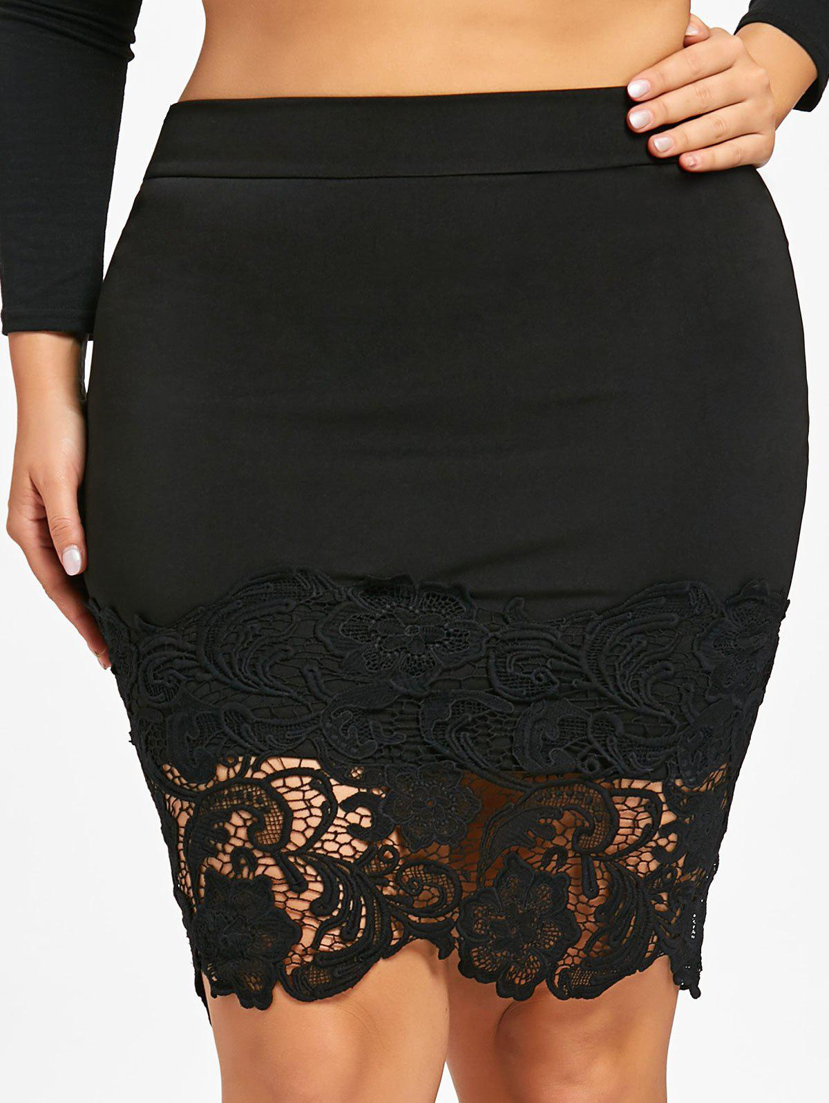 Plus Size Lace Trim Bodycon Skirt - BLACK 2XL