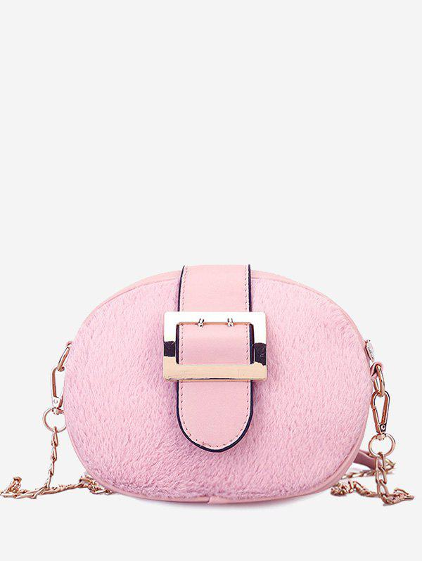 Buckle Strap Chain Crossbody Bag - PINK
