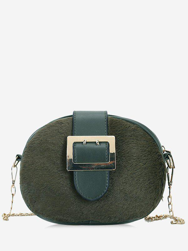 Buckle Strap Chain Crossbody Bag - GREEN
