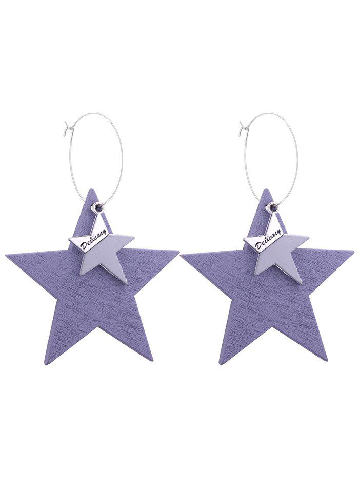 Star Circle Hoop Drop Earrings bow detail hoop drop earrings