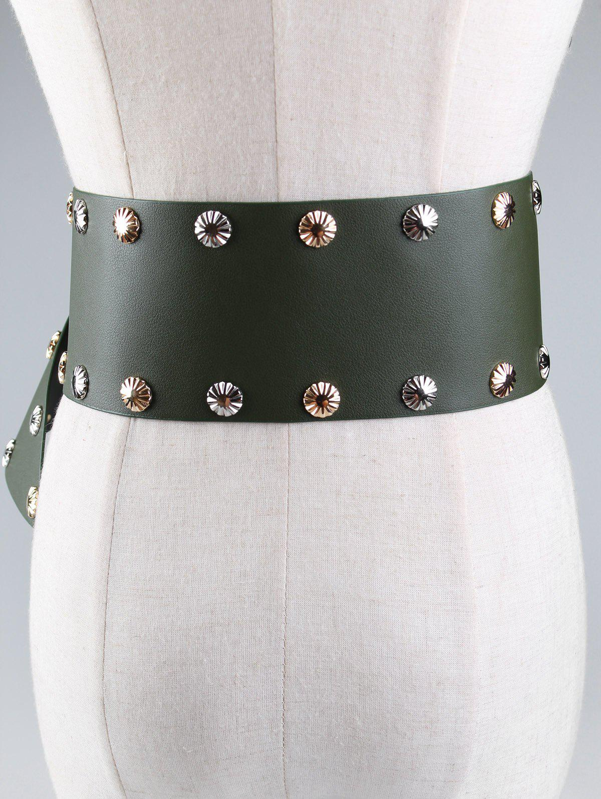 Vintage Metal Buckle Rivet Wide Corset Belt - GREEN