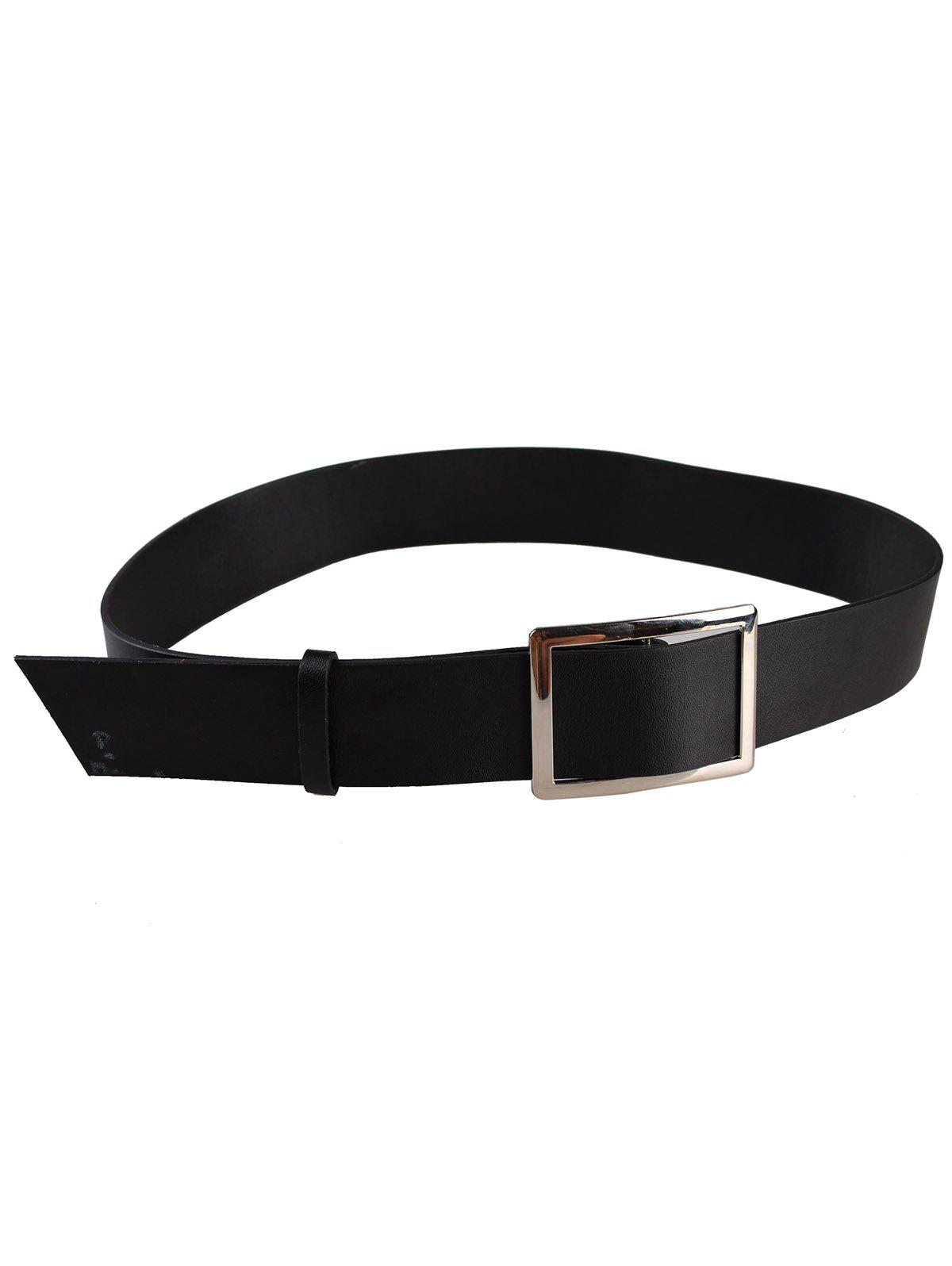 Vintage Metal Buckle Decorated Faux Leather Wide Waist Belt - BLACK