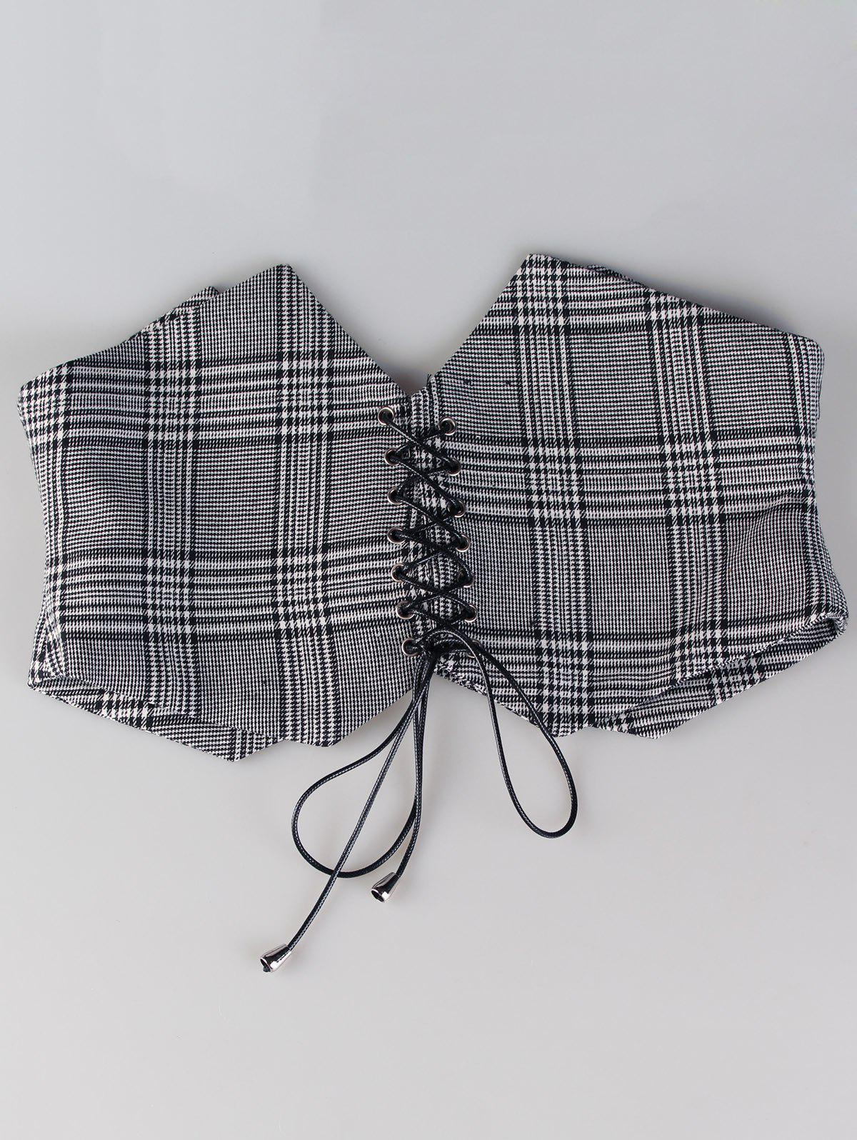 Vintage Checkered Pattern Reversible Wide Waist Belt - GRAY