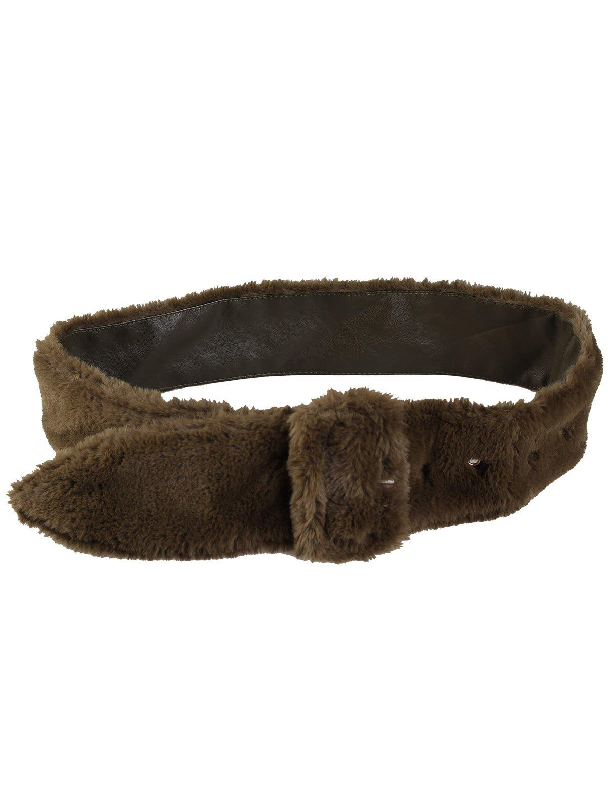Funny Rectangle Buckle Embellished Furry Wide Waist Belt - OLIVE GREEN