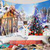 Christmas Snow House and Snowman Pattern Wall Art Tapestry - COLORFUL W91 INCH * L71 INCH