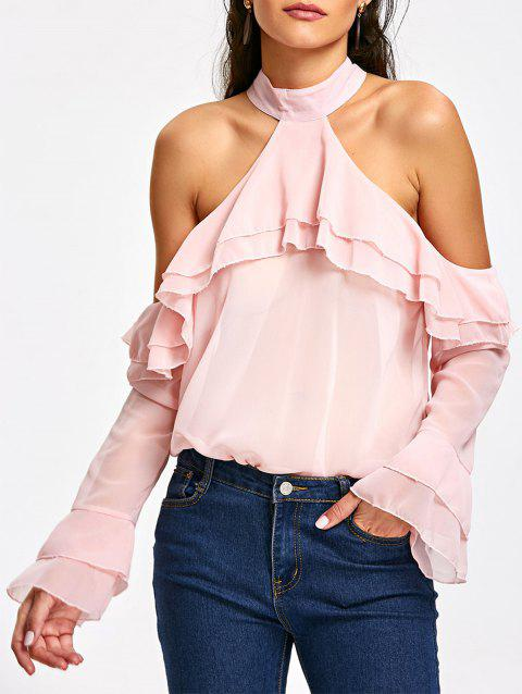 Ruffle Cold Shoulder Layered Blouse - LIGHT PINK S