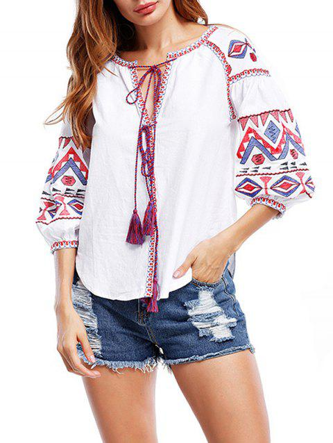 Tribal Print Tassels Puff Sleeve Blouse - WHITE L