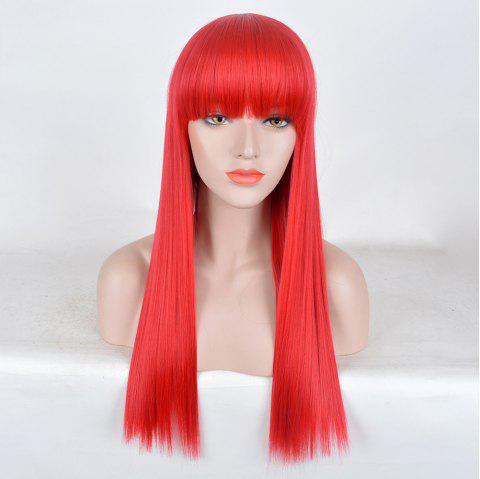 Long Neat Bang Straight Synthetic Party Wig - RED
