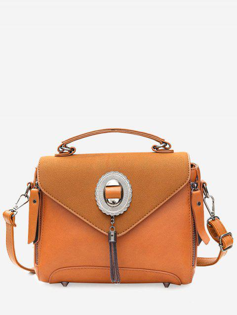 Tassel Metal Front Zip Handbag - BROWN