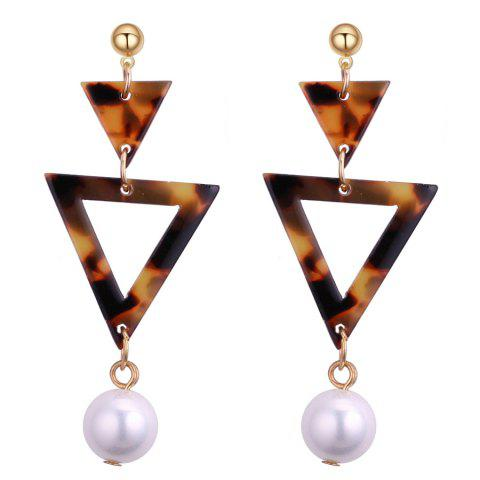 Double Triangle Linked Faux Pearl Drop Earrings - COFFEE