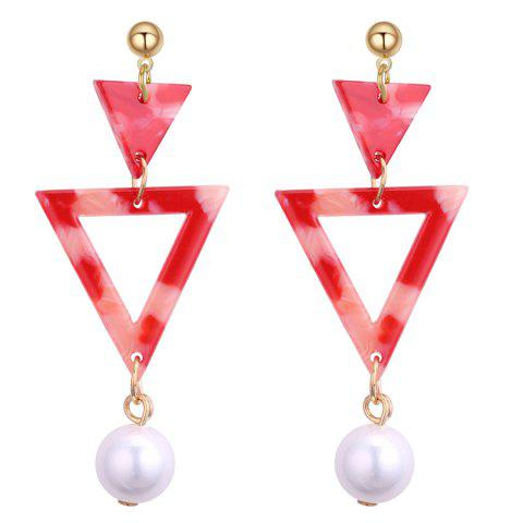Double Triangle Linked Faux Pearl Drop Earrings - RED