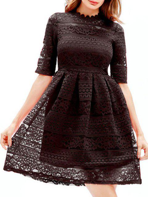 Mini Lace Embroidered A Line Dress - BLACK S