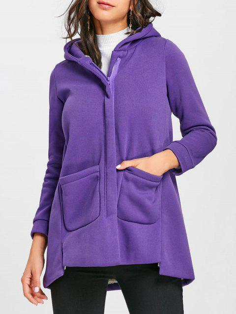 Hooded Long Zip Up Coat - PURPLE 2XL