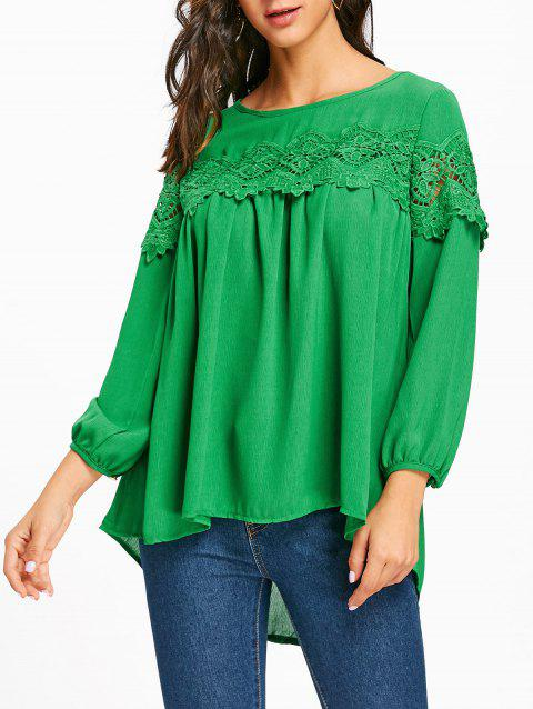 Crochet Lace Insert High Low Blouse - GREEN S