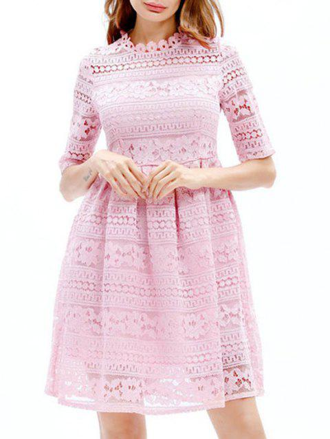Mini Lace Embroidered A Line Dress - PINK S