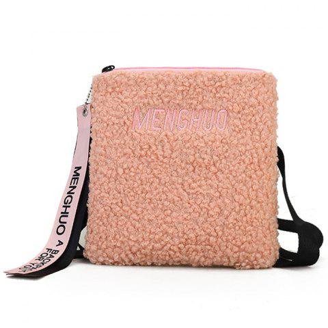 Letter Embroidery Faux Fur Crossbody Bag - PINK