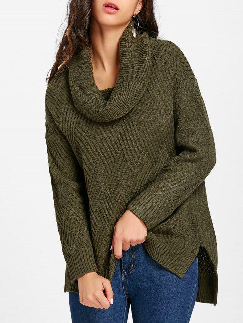 Cowl Neck Side Slit Knitted Sweater - ARMY GREEN S