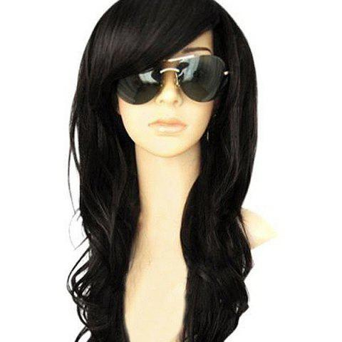 Long Oblique Bang Wavy Heat Resistant Synthetic Wig - BLACK