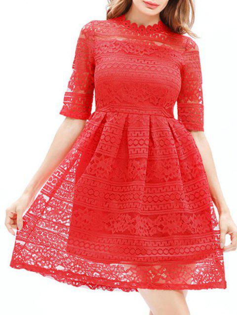 Mini Lace Embroidered A Line Dress - RED L