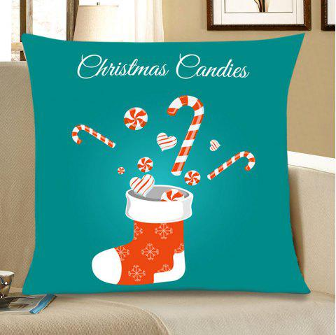 Christmas Sock Candy Print Linen Sofa Pillowcase - COLORFUL W18 INCH * L18 INCH