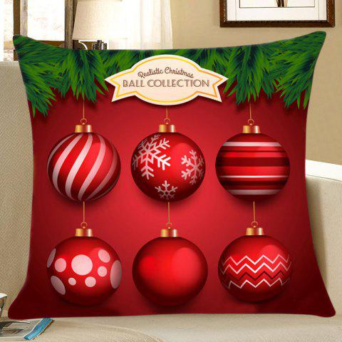 Christmas Baubles Pine Print Decorative Linen Sofa Pillowcase - COLORFUL W18 INCH * L18 INCH