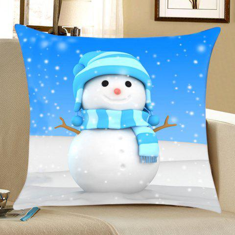 Snowy Christmas Snowman Print Decorative Linen Sofa Pillowcase - COLORMIX W18 INCH * L18 INCH