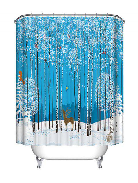 Christmas Forest Animals Print Waterproof Fabric Shower Curtain - COLORMIX W71 INCH * L71 INCH