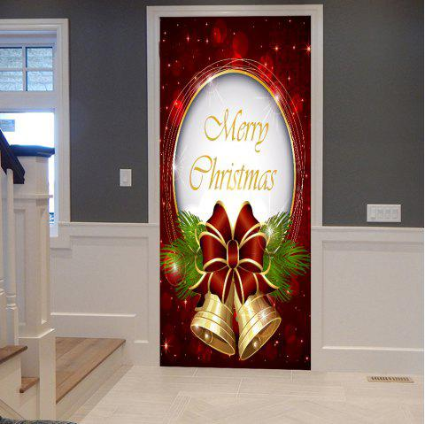 Christmas Bells Pattern Door Cover Stickers - COLORMIX 38.5*200CM*2PCS