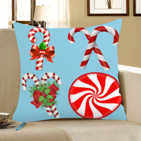 Christmas Candy Bar Pattern Linen Pillow Case - BLUE/RED W18 INCH * L18 INCH