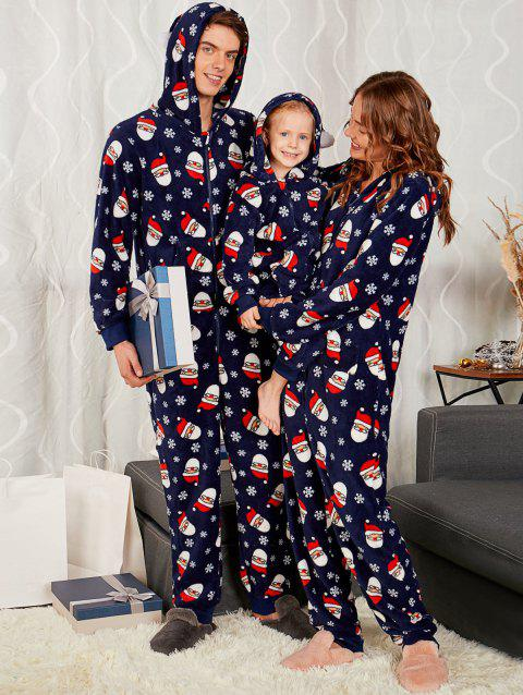 Santa Claus Print Matching Family Christmas Pajama Sets - PURPLISH BLUE MOM XL