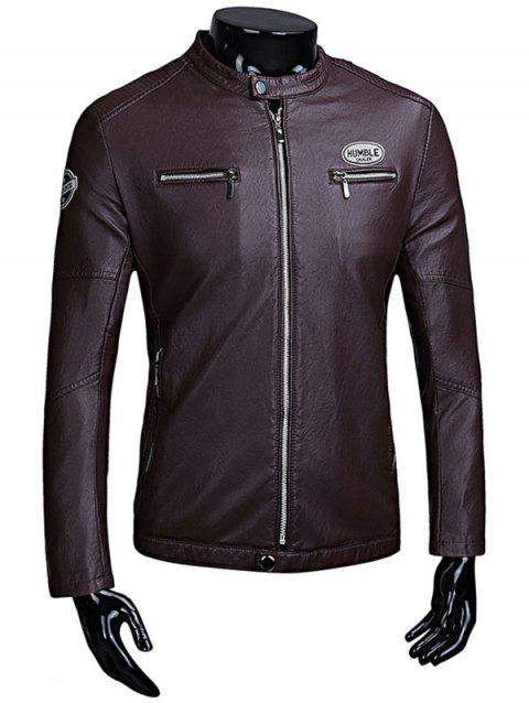 Zip Up Patch Faux Leather Flocking Jacket - PURPLISH RED L