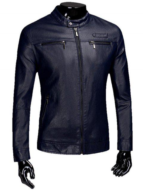 Casual Zipper Faux Leaather Flocking Jacket - PURPLISH BLUE 2XL