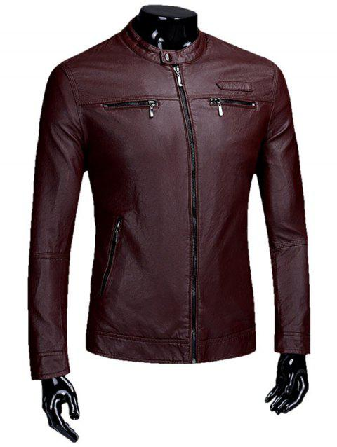 Casual Zipper Faux Leaather Flocking Jacket - CLARET 2XL