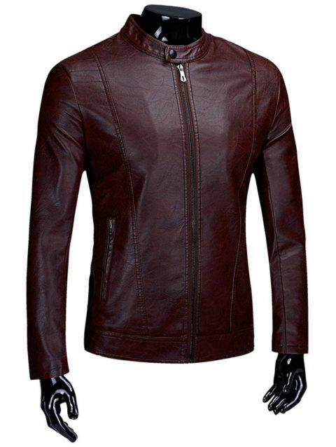 Flocking Zip Up Casual PU Leather Jacket - DEEP RED XL