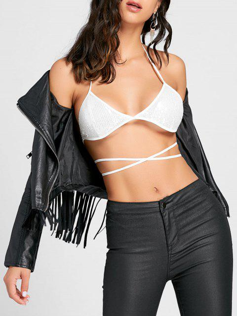 Sequins Lace Up Halter Bra Top - WHITE L