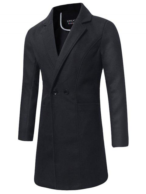 Trench-coat Long en Laine à Double Boutonnage - Noir XL