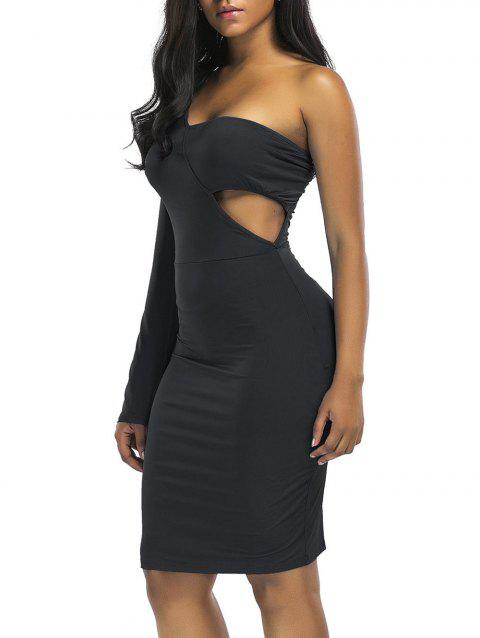 Cut Out Knee Length One Shoulder Club Dress - BLACK 2XL