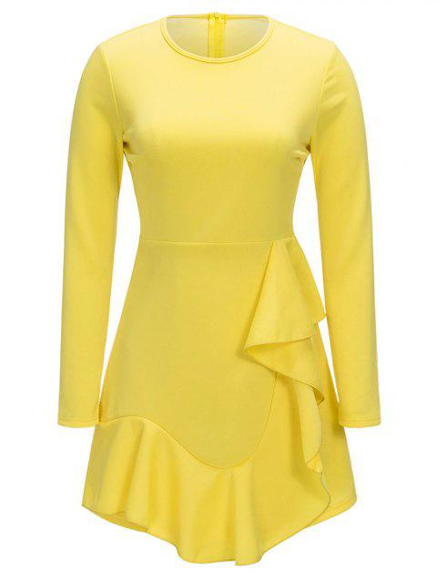 Ruffle Long Sleeve A-line Dress - YELLOW 2XL