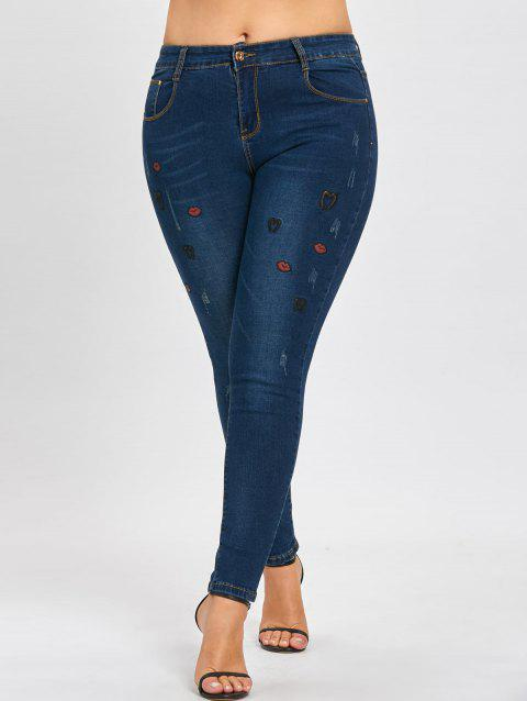 Plus Size Ripped Lips Embroidered Jeans - DENIM BLUE 4XL
