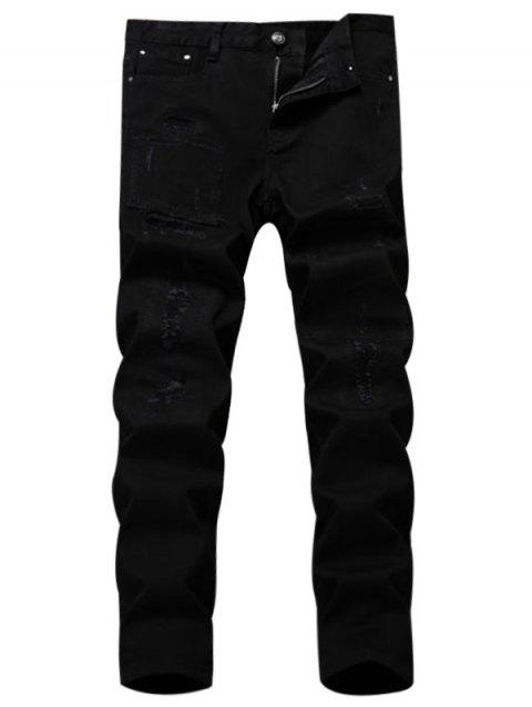 Applique Straight Leg Ripped Pants - BLACK 36