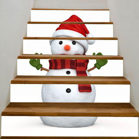 Christmas Snowman Print Stair Stickers - WHITE/RED 100*18CM*6PCS